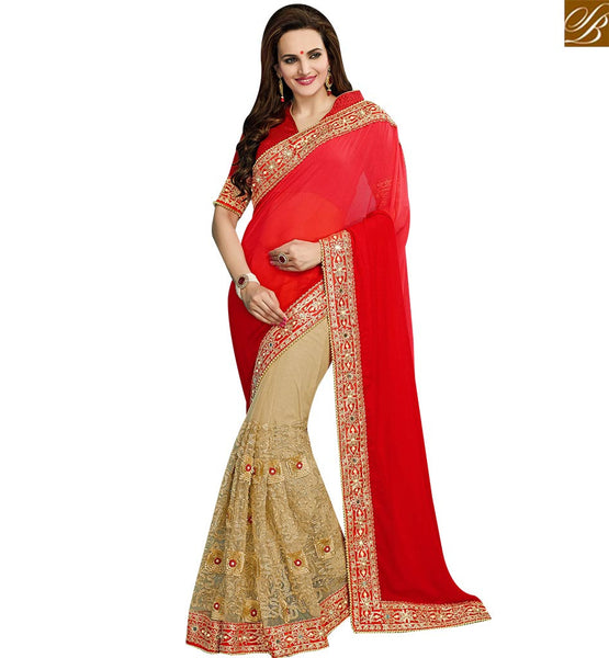STYLISH BAZAAR REMARKABLE RED AND BEIGE GEORGETTE NET HEAVY EMBROIDERED SAREE WITH LACE BORDER STONE WORK VDRUD17467