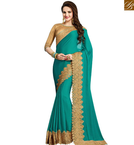 STYLISH BAZAAR APPRECIATING SKY BLUE CREPE DESIGNER SAREE WITH LACE BORDER WORK AND GOLD BROCKET BLOUSE VDRUD17468