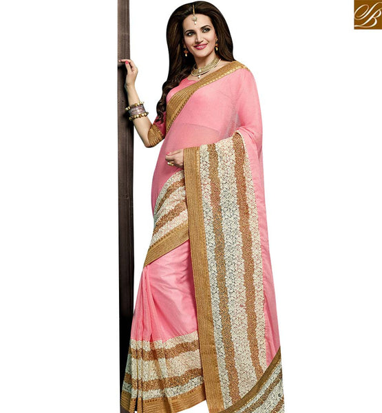 STYLISH BAZAAR SENSATIONAL PINK GEORGETTE DESIGNER SAREE HAVING WHITE AND GOLD BORDER WORK VDRUD17469