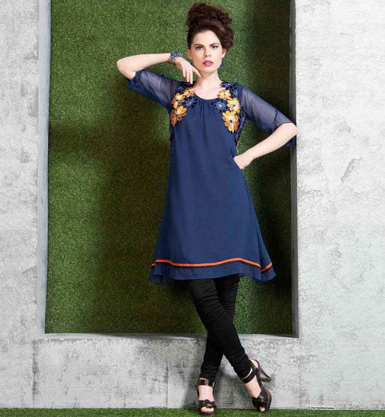 FANCY LOOK FLORAL EMBROIDERY KNEE HEIGHT BLUE GEORGETTE TUNIC TOP