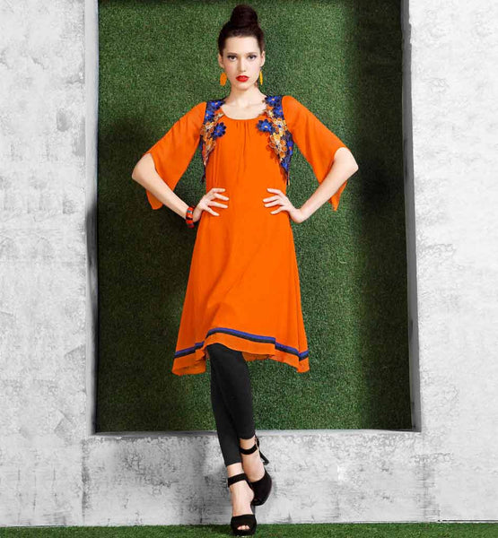 WONDERFUL KNEE LENGTH ORANGE KURTI WITH FLORAL EMBROIDERY PATTERN