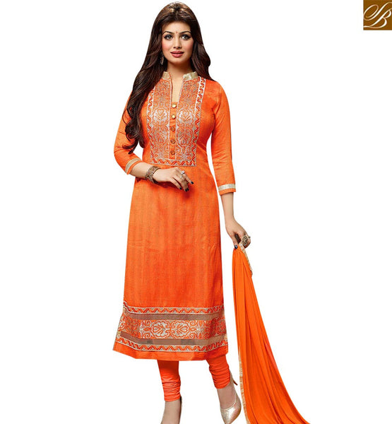 STYLISH BAZAAR BOLLYWOOD CELEBRITY AYESHA TAKIA ORANGE DESIGNER STRAIGHT CUT SALWAR KAMEEZ VDOTZ17500