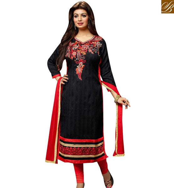 STYLISH BAZAAR WONDERFUL BLACK BHAGALPURI AYESHA TAKIA EMBROIDERED STRAIGHT CUT SALWAR KAMEEZ VDOTZ17501