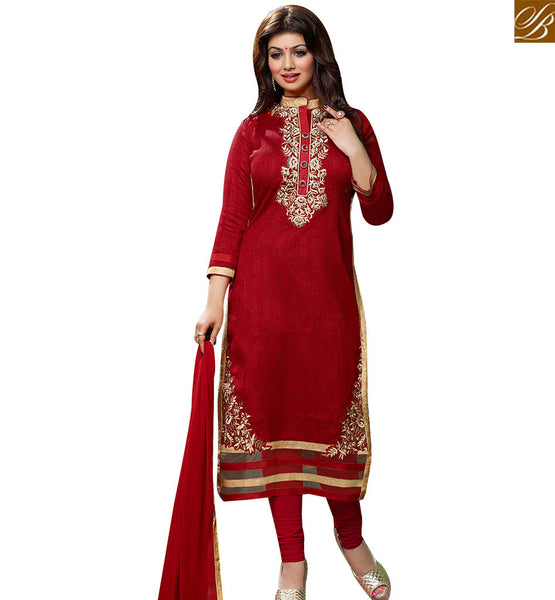 STYLISH BAZAAR RED COLOUR EMBROIDERED AYESHA TAKIA LOVELY STRAIGHT CUT SALWAR KAMEEZ VDOTZ17502