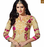 STYLISH BAZAAR INTRODUCES MARVELLOUS BEIGE BHAGALPURI STRAIGHT CUT SALWAR KAMEEZ HAVING FLOWERY WORK VDOTZ17505