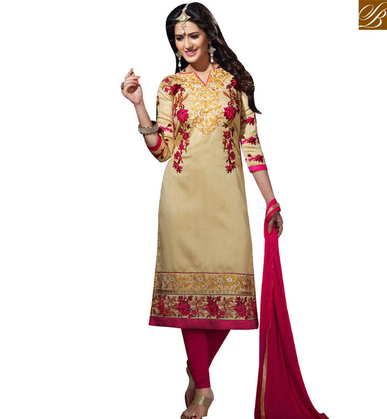 STYLISH BAZAAR MARVELLOUS BEIGE BHAGALPURI STRAIGHT CUT SALWAR KAMEEZ HAVING FLOWERY WORK VDOTZ17505