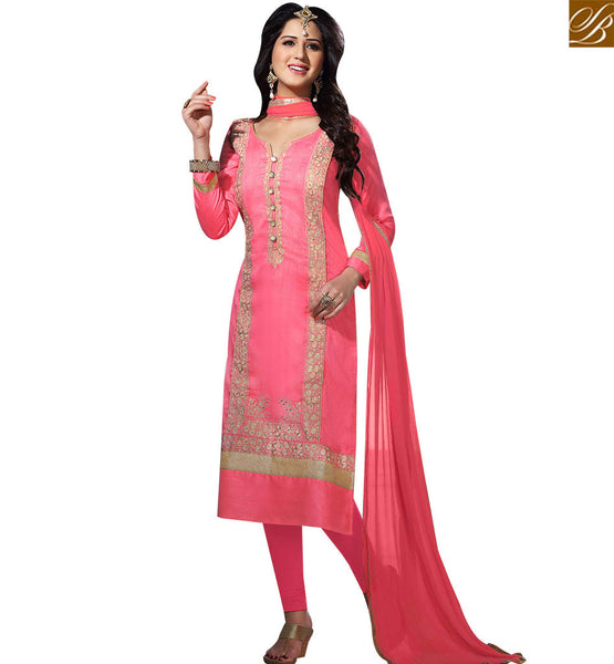 STYLISH BAZAAR DELIGHTFUL PINK STRAIGHT CUT EMBROIDERED SALWAR KMAEEZ HAVING PINK SANTOON BOTTOM AND DUPATTA VDOTZ17507