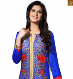 SHOP BLUE BHAGALPURI STRAIGHT CUT SALWAR KAMEEZ HAVING FLOWERY EMBROIDERY WORK VDOTZ17508