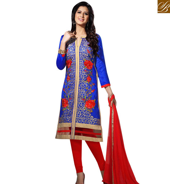 STYLISH BAZAAR SHOP BLUE BHAGALPURI STRAIGHT CUT SALWAR KAMEEZ HAVING FLOWERY EMBROIDERY WORK VDOTZ17508