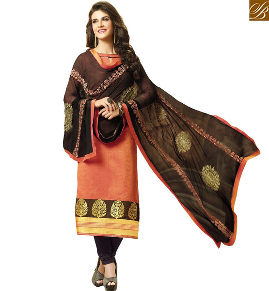 STYLISH BAZAAR BEAUTIFUL ORANGE CHANDERI JACQUARD STRAIGHT CUT DESIGNER SALWAR KAMEEZ VDCLB17519
