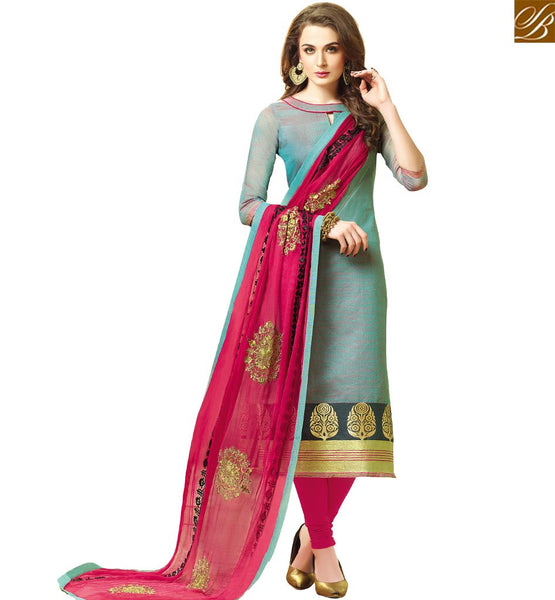 STYLISH BAZAAR PLEASING BLUE CHANDERI JACQUARD STRAIGHT CUT DESIGNER SALWAR KAMEEZ HAVING PINK BOTTOM DUPATTA VDCLB17520