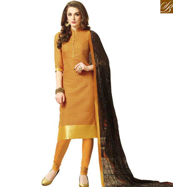 STYLISH BAZAAR ORANGE STRAIGHT CUT DESIGNER SALWAR KAMEEZ WITH BLACK NAZNEEN DUPATTA VDCLB17522