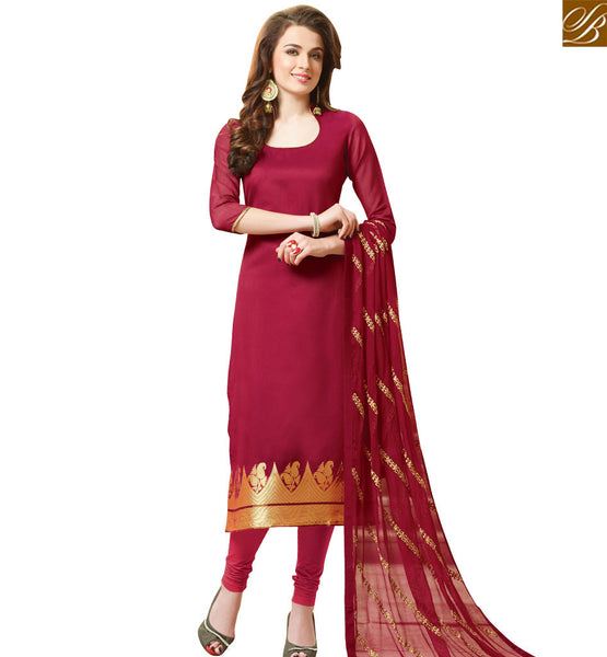STYLISH BAZAAR MAROON CHANDERI JACQUARD DESIGNER SALWAR KAMEEZ HAVING MAROON BOTTOM AND DUPATTA VDCLB17524