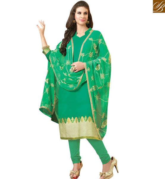 STYLISH BAZAAR ELEGANT GREEN STRAIGHT CUT SALWAR KAMEEZ WITH EMBROIDERED DUPATTA VDCLB17525