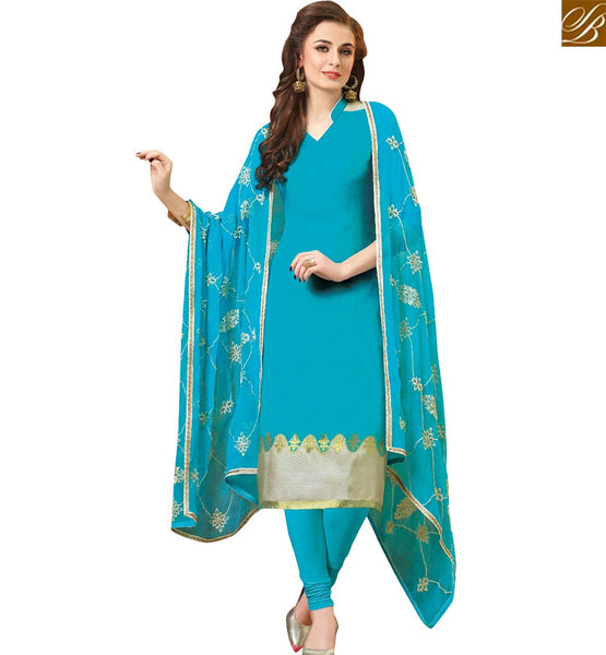STYLISH BAZAAR ATTRACTIVE SKY BLUE STRAIGHT CUT SALWAR KAMEEZ HAVING PLEASANT LOOK VDCLB17526
