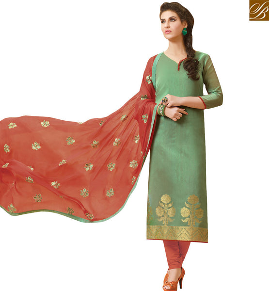 STYLISH BAZAAR DAZZLING GREEN JACQUARD STRAIGHT CUT SALWAR KAMEEZ HAVING ORANGE BOTTOM AND DUPATTA VDCLB17528