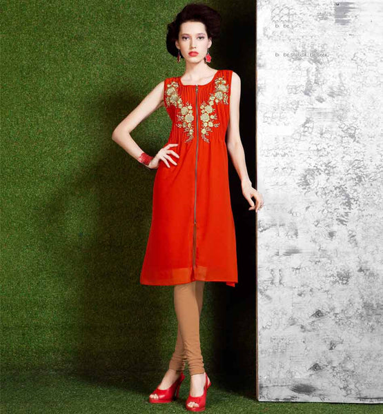 LATEST FRONT ZIP FASHION KURTI STYLISH EMBROIDERY & PLEATED NECK