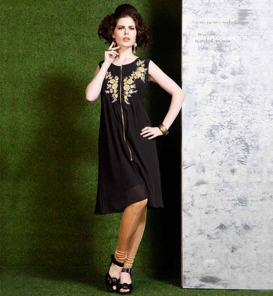 AWESOME ZIP LOOK DESIGNER BLACK EMBROIDERED PLEATED NECK KURTI
