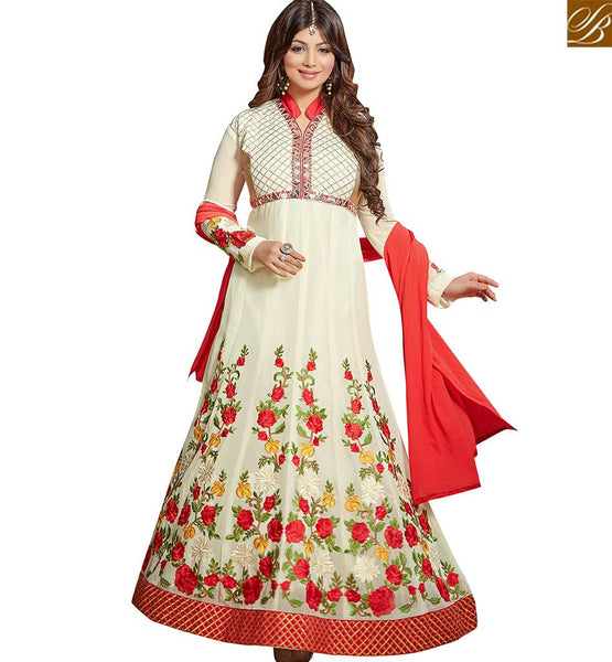 STYLISH BAZAAR BOLLYWOOD CELEBRITY AYESHA TAKIA OFF WHITE GEORGETTE EMBROIDERED WORK LONG ANARKALI SALWAR KAMEEZ VDRV17789