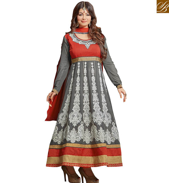 STYLISH BAZAAR BOLLYWOOD ACTRESS AYESHA TAKIA APPRECIATING GREY COLORED GEORGETTE EMBROIDERED WORK DESIGNER ANARKALI SALWAR KAMEEZ VDRV17791