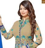 A STYLISH BAZAAR PRESENTATION ACTRESS AYESHA TAKIA ATTRACTIVE DESIGNER BEIGE COLORED GEORGETTE EMBROIDERED WORK ANARKALI SUIT VDRV17792