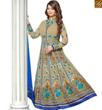 STYLISH BAZAAR ACTRESS AYESHA TAKIA ATTRACTIVE DESIGNER BEIGE COLORED GEORGETTE EMBROIDERED WORK ANARKALI SUIT VDRV17792