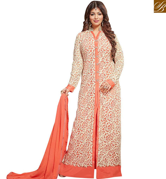 STYLISH BAZAAR AYESHA TAKIA MARVELOUS DESIGNER ORANGE COLORED FESTIVE WEAR EMBROIDERED WORK ANARKALI SALWAR KAMEEZ VDRV17793