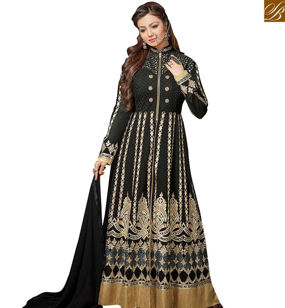 STYLISH BAZAAR STUNNING AYESHA TAKIA BLACK COLORED SALWAR SUIT EMBROIDERED WORK GEORGETTE ANARKALI STYLE VDRV17794