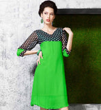 AMAZING KURTI SMART COMBINATION OF SOLID GREEN & POLKA DOTS PRINT