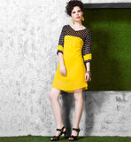 EYE-CATCHING URBAN LOOK ROUND CUT TUNIC TOP TO MATCH WITH JEANS | SIMPLE NECK DESIGNS FOR KURTIS STYLE 2015 | SHORT KURTIS DESIGNS FOR JEANS