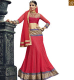 STYLISH BAZAAR WONDERFUL RED NET DESIGNER LEHENGA CHOLI WITH LACE BORDER WORK AND EMBROIDERED CHOLI VDSNG17844