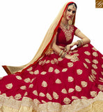 STYLISH BAZAAR PRESENTS AMAZING RED GEORGETTE DESIGNER LEHENGA CHOLI WITH MAROON EMBROIDERED CHOLI VDSNG17845
