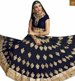 BEAUTIFUL NAVY BLUE GEORGETTE EMBROIDERED LEHENGA CHOLI WITH NAVY BLUE EMBROIDERED CHOLI VDSNG17846