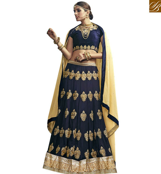 STYLISH BAZAAR BEAUTIFUL NAVY BLUE GEORGETTE EMBROIDERED LEHENGA CHOLI WITH NAVY BLUE EMBROIDERED CHOLI VDSNG17846