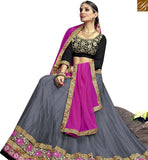 FROM STYLISH BAZAAR DAZZLING GREY NET DESIGNER LEHENGA CHOLI WITH BLACK VELVET EMBROIDERED CHOLI & PINK GEORGETTE DUPATTA VDSNG17847