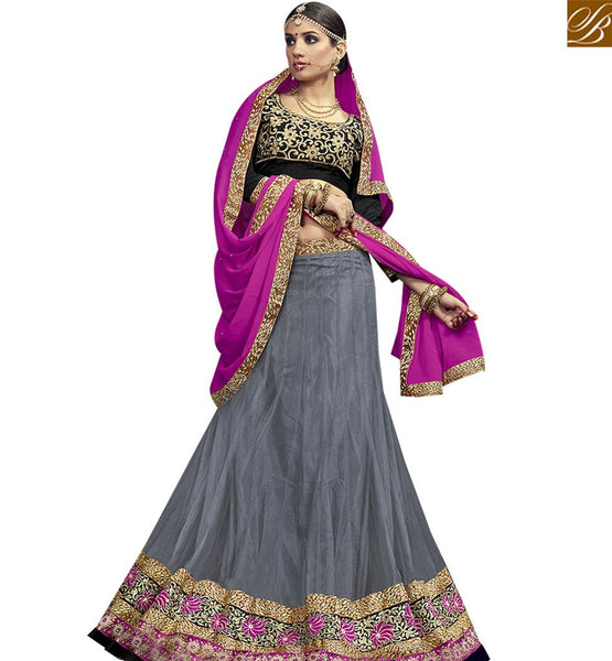 STYLISH BAZAAR DAZZLING GREY NET DESIGNER LEHENGA CHOLI WITH BLACK VELVET EMBROIDERED CHOLI & PINK GEORGETTE DUPATTA VDSNG17847