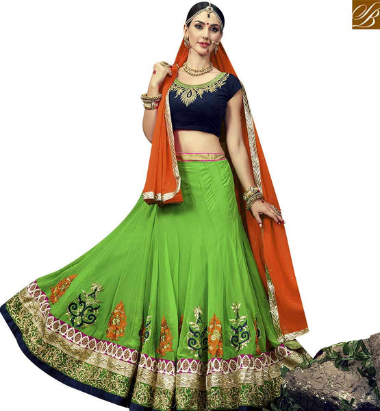 STYLISH BAZAAR ELEGANT GREEN GEORGETTE EMBROIDERED LEHENGA CHOLI WITH NAVY BLUE VELVET EMBROIDERED WORK CHOLI VDSNG17848