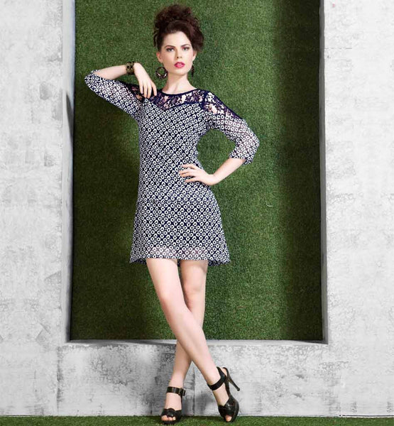 PRINTED DESIGNER SHORT KURTI WITH NET DESIGNING FOR ADDED GLAMOUR