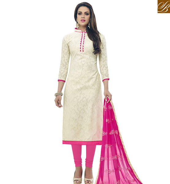 STYLISH BAZAAR BUY OFF WHITE COTTON JACQUARD STRAIGHT CUT SALWAR KAMEEZ WITH PINK BOTTOM & DUPATTA VDALP17910
