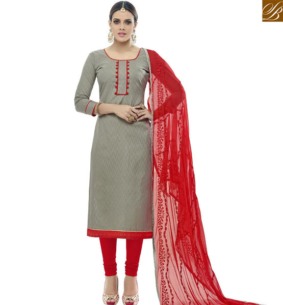 STYLISH BAZAAR SHOP GREY COTTON JACQUARD STRAIGHT CUT SALWAR KAMEEZ HAVING RED NAZNEEN DUPATTA FROM STYLISH BAZAAR VDALP17911