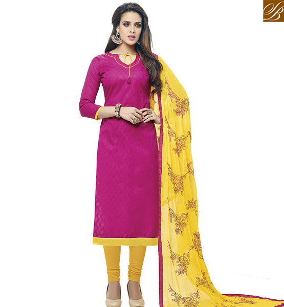 STYLISH BAZAAR BEAUTIFUL RED COTTON JACQUARD STRAIGHT CUT SALWAR KAMEEZ WITH YELLOW DESIGNER DUPATTA VDALP17912