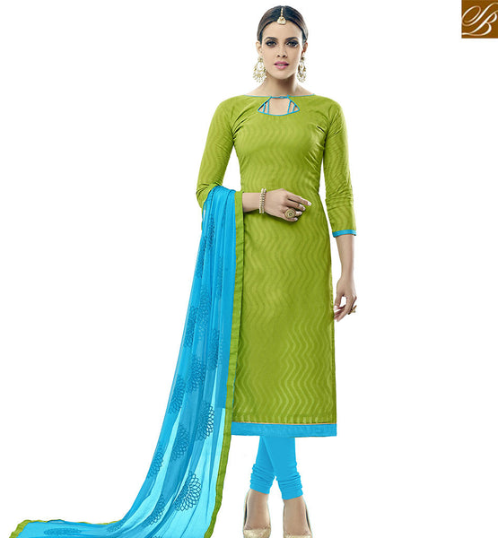 STYLISH BAZAAR PLEASING MEHENDI COTTON JACQUARD STRAIGHT CUT SALWAR KAMEEZ WITH SKY BLUE BOTTOM AND DUPATTA VDALP17913