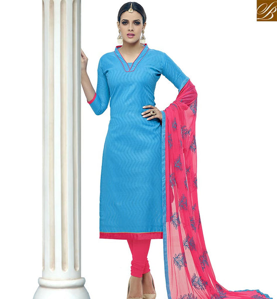 STYLISH BAZAAR WONDERFUL BLUE COTTON STRAIGHT CUT SALWAR KAMEEZ WITH PINK DESIGNER DUPATTA VDALP17915