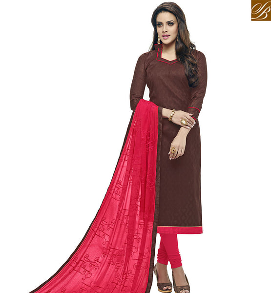 STYLISH BAZAAR EYE CATCHING BROWN COTTON JACQUARD STRAIGHT CUT SALWAR SUIT WITH RED CHURIDAR BOTTOM VDALP17918