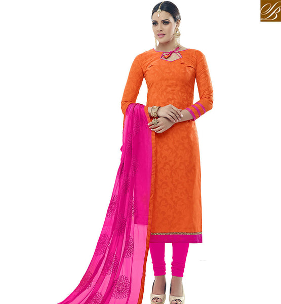 STYLISH BAZAAR BUY ONLINE ORANGE COTTON STRAIGHT CUT SALWAR KAMEEZ WITH PINK BOTTOM AND DUPATTA AT BEST PRICE VDALP17920