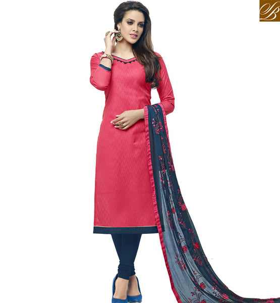 STYLISH BAZAAR SPLENDID PEACH COTTON STRAIGHT CUT SALWAR KAMEEZ WITH BLUE BOTTOM AND DUPATTA VDALP17921