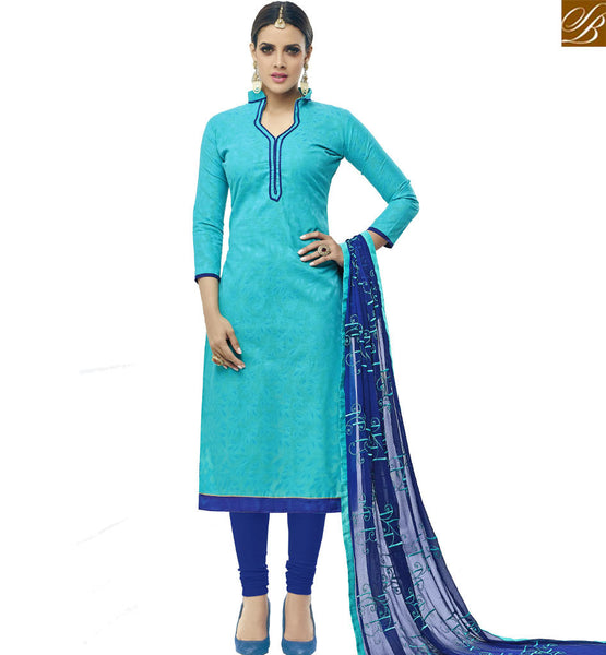 STYLISH BAZAAR BEWITCHING SKY BLUE STRAIGHT CUT SALWAR KAMEEZ WITH BLUE DESIGNER DUPATTA VDALP17922