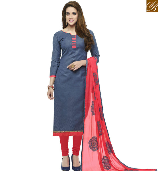 STYLISH BAZAAR NAVY BLUE COTTON STRAIGHT CUT SALWAR KAMEEZ WITH RED DISPLAYING BOTTOM AND DUPATTA VDALP17924