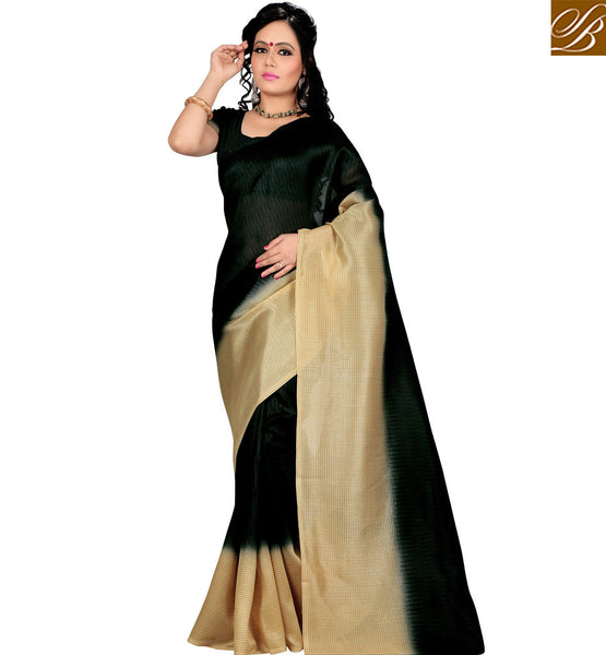 STYLISH BAZAAR INTRODUCES CHARMING GREEN SARI WITH CREAM BORDER RTVAN17