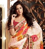 PARTY WEAR SAREES ONLINE SHOPPING IN INDIA WITH BLOUSE STYLISH BAZAAR CREAM MAROON GEORGETTE